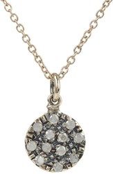 Fabrizio Riva Milky Diamond And White Gold Disc Pendant Necklace Colorle Colorless