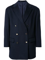 H Beauty And Youth. Loose Double Breasted Coat Blue