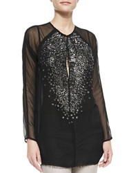 Kaufman Franco Crystal And Rings Chiffon Tunic Black