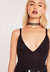 Missguided Fabric Cross Choker Necklace Black