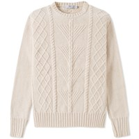 Inis Meain Fern Cable Aran Crew Knit Neutrals