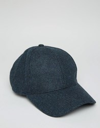 Asos Baseball Cap In Herringbone Navy