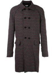 Msgm Houndstooth Pattern Coat