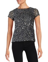 Adrianna Papell Beaded Mesh Short Sleeve Top Charcoal