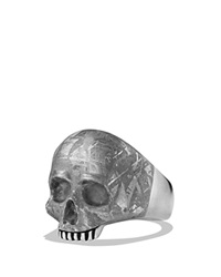 David Yurman Skull Ring With Carved Meteorite Silver