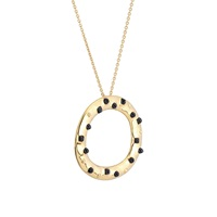 Kinnari Gold Large Crown Pendant With Onyx Gold Black