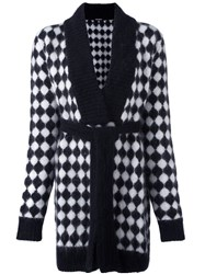 Balmain Checked Tie Waist Cardigan Black