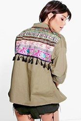 Boohoo Embroidered Utility Jacket Khaki