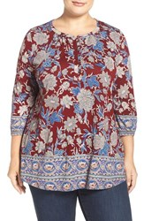Lucky Brand Plus Size Women's Floral Border Print Top