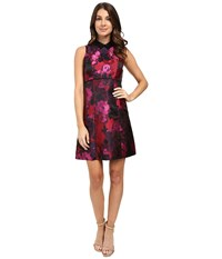 Ivanka Trump Printed Floral Poly Jacquard Red Black Women's Clothing