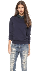 Clu Too Plaid Collar Pullover Navy
