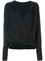 Agnona Wrap Blouse Black