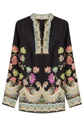Etro Printed Silk Tunic Multicolor