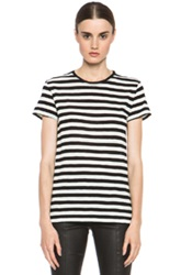 Proenza Schouler Baggy Cotton Tee In White Black Stripes