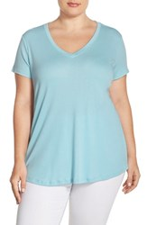 Plus Size Women's Sejour Short Sleeve V Neck Tee Blue Glaze