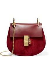 Chloe Drew Small Leather And Suede Shoulder Bag Burgundy