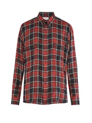 Saint Laurent Checked Distressed Flannel Shirt Red Multi