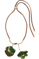 Marni Leather Gold Tone And Acrylic Necklace Green