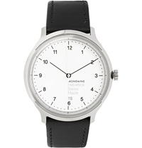 Mondaine Helvetica No1 Stainless Steel And Leather Watch Black