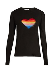 Bella Freud Rainbow Heart Wool Blend Sweater Black