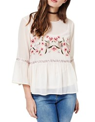 Miss Selfridge Embroidered Bell Sleeved Blouse Pink