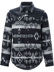 Marcelo Burlon County Of Milan Aztec Print Shirt Jacket Black