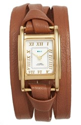 La Mer Women's Collections 'Milwood' Leather Wrap Watch 35Mm Brown Gold