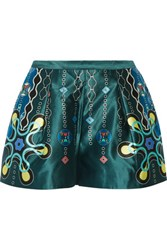 Peter Pilotto Geo Printed Silk Satin Shorts Multi