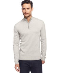 Alfani Red Solid Slim Fit Quarter Zip Sweater Heather Vanilla
