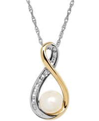 Macy's Cultured Freshwater Pearl 6Mm And Diamond Accent Pendant Necklace In Sterling Silver And 14K Gold
