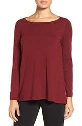 Nordstrom Women's Collection Side Button Merino Wool Pullover Red Cordovan