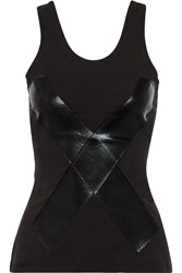 Norma Kamali Lam And Eacute Trimmed Stretch Jersey Tank Black