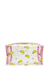 Forever 21 Taco Print Makeup Bag Clear Pink