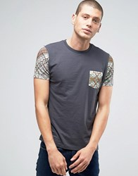 Asos T Shirt With Tapestry Print Sleeves And Pocket Washed Black Grey