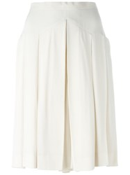 Chanel Vintage Pleated Shorts Nude And Neutrals