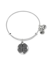 Alex And Ani Four Leaf Clover Charm Bangle Silver