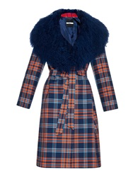 House Of Holland Shearling Collared Tartan Coat
