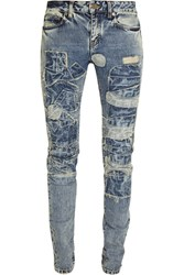 Saint Laurent Patchwork Low Rise Skinny Jeans Blue