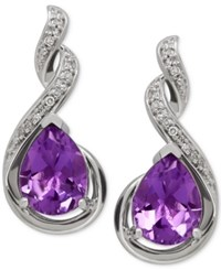 Macy's Amethyst 1 9 10 Ct. T.W. And Diamond Accent Infinity Earrings In Sterling Silver