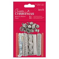 Docrafts Create Christmas Beads And Ribbons Pack Silver