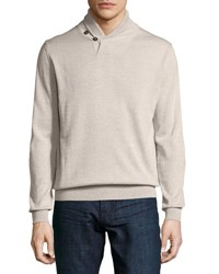 Neiman Marcus Shawl Collar Pullover Sweater Chameau