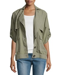 Frame Denim Le Oversized Half Sleeve Jacket Olive