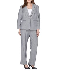 Tahari By Arthur S. Levine Plus Two Piece Textured Suit Grey
