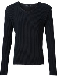 Y Project Ribbed Asymmetric Two Piece Sweater Set Black