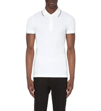 Armani Jeans Embroidered Logo Stretch Cotton Polo Shirt 10 Bianco