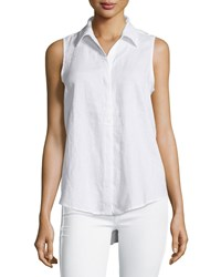 Neiman Marcus Linen Sleeveless High Low Blouse Simply White