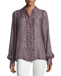 See By Chloe Butterfly Print Long Sleeve Blouse Purple