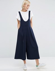 Asos Pinafore Jumpsuit With Scoop Neck And Culotte Leg Navy Blue
