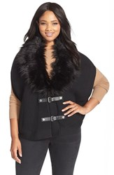 Plus Size Women's Michael Michael Kors Buckle Front Poncho With Removable Faux Fur Collar