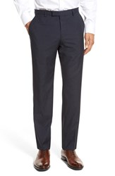 Boss Men's 'Leenon' Flat Front Houndstooth Wool Trousers Dark Blue